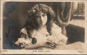 Miss Mabel Love~Victorian Stage Actress & Dancer~Lacy Dress~Hair Down~1904 RPPC