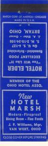 Early Bryan, Ohio/OH Matchcover, Hotel Marsh & Hotel Elder