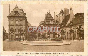 Old Postcard Dijon Place des Cordeliers and Statue of Piron