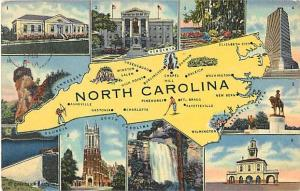 Linen North Carolina Map Card NC 1947