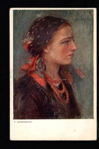 034707 Rural Lady. Art Nouveau By T. AXENTOWICZ. Old