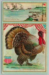 Thanksgiving~Proud Turkey Stands Under Flag Bunting~Army Navy Ship Yard Vignette