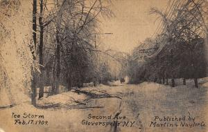 Gloversville NY~Branches Tossed~Power Lines Sag Under Weight of Ice~2nd Ave~1909