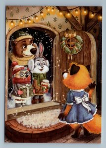 RED FOX friends came Bunny Rabbit Bear Forest Animal Fancy Fantasy New Postcard
