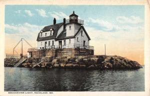 Rockland Maine Breakwater Light House Waterfront Antique Postcard K78733