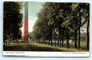Postcard IL Chenoa 1909 View of City Park H08