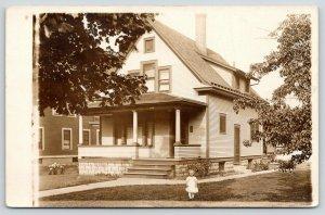 Geneseo Illinois~Hattie Guild's House #424~Little Girl on Lawn~1913 RPPC