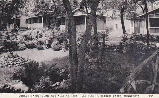 Sunken Gardens And Cottages At Fair Hills Resort, Detroit Lakes, Minnesota, 1...
