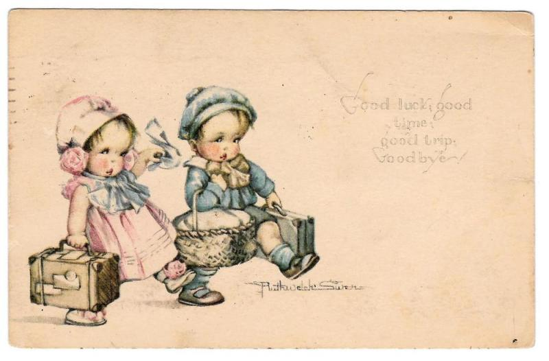 Ruth Welch Siver Vintage AS Postcard Children Suitcases