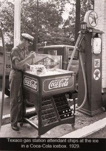 Texaco Gas Station Attendant Chips Ice For Coca-Cola Ice Box ca. 1929 (5.75 ...