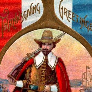 Pilgrim Mayflower Plymouth wishbone patriotic USA Thanksgiving rifle gold c1909