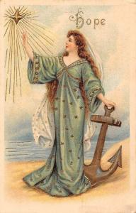 Lady Woman Dame, Anchor, Star Hope Embossed Postcard
