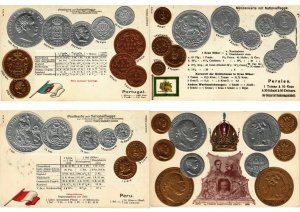 COINS MONEY NUMISMATIC 48 VINTAGE EMBOSSED POSTCARDS in SPECIAL ALBUM (L2787)