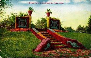 St Paul Minnesota Mn Como Park Gates Ajar 1910 Vtg Carte Postale V O Hammon