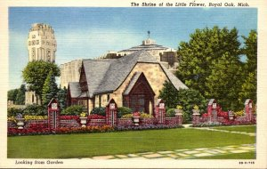 Michigan Royal Oak Shrine Of The Little Flower Looking From The Gardens 1949 ...