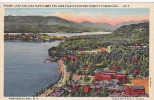 New York Mirror Lake and Lake Placid With The Lake Placid Club Buildings In T...