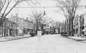 Salem NY Main Street Barber Shop Ice Cream Directional Sign Real Photo Postcard