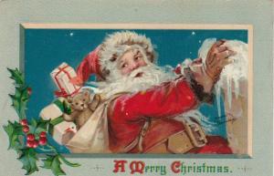 AS; Frances Brundage, 1900-10s; CHRISTMAS, Santa Claus, Teddy Bear, Holly