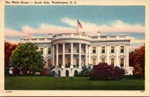 Vtg 1930s The White House South Side Washington DC Unused Linen Postcard