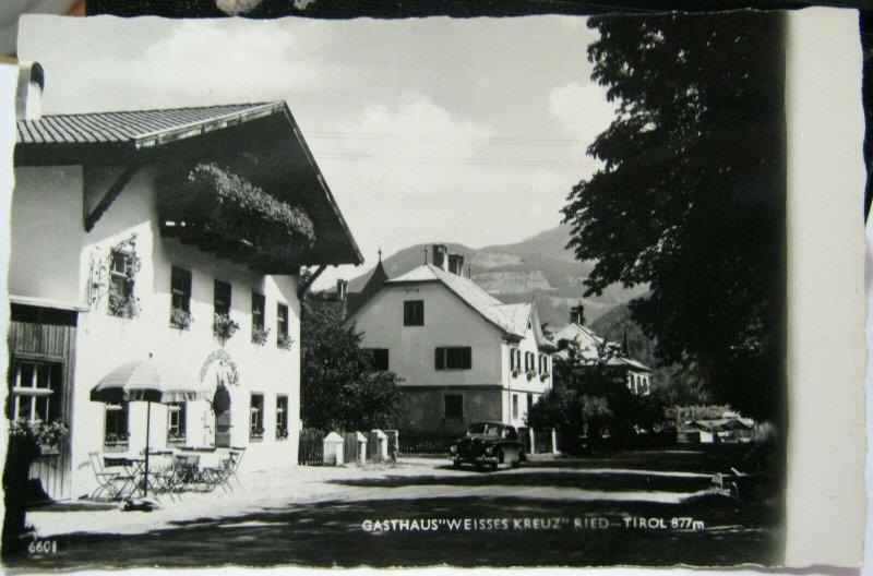 Austria Gasthaus Weisses Kreuz Ried Tirol - RPPC - unposted