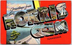 NORRIS DAM Tennessee Large Letter Postcard w/ View KROPP Linen c1940s Unused