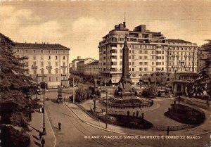 Italy Milano Piazzale Cinque Giornate e Corso Marzo Postcard
