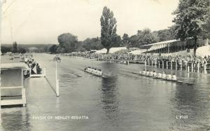 England finish of Henley Royal Regatta River Thames rowing event postcard