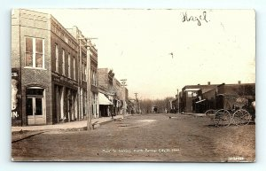 1908 RPPC Il Farmer City Main St. Looking North Busch Beer Carriage Real Photo
