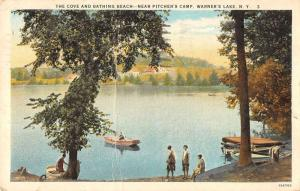the cove and bathing beach warners lake New York Antique Postcard L261