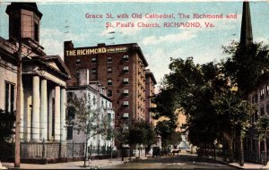 Virgina Richmond Grace Street With Old Cathedral Richmond Hotel and St Paul&#...