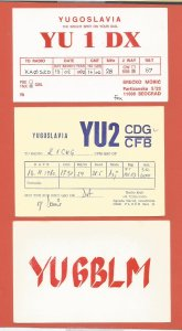 QSL AMATEUR RADIO CARDS – YUGOSLAVIA – 3 DIFFERENT CARDS – 1979-1992 (3)