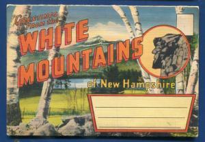 White Mountains Franconia Old Man New Hampshire nh postcard folder 1940s