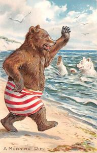 Raphael Tuck & Sons, No 118 Little Bears Bear Unused light indentation top ed...