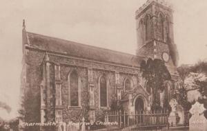 Charmouth St Andrews Church Antique Postcard