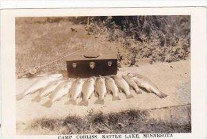 Minnesota Battle Lake Camp Corliss Catch Of Bass Real Photo RPPC