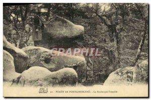 Old Postcard Foret De Fontainebleau La Roche trembling