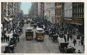 23rd Street, N.Y.C., Street Scene with Trolleys & Cars, Early Postcard, Unused