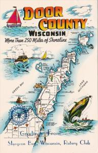 Map Of Door County Wisconsin 1975
