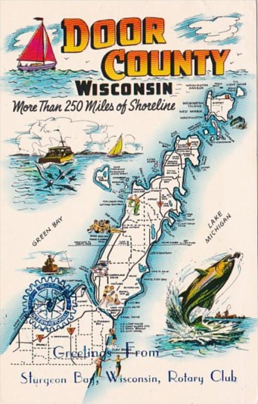 Map Of Door County Wisconsin 1975