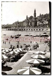 Old Postcard Menton The Beach And The Old City