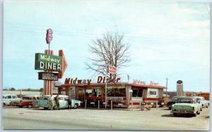 Pee Dee, South Carolina Postcard MIDWAY DINER Restaurant Route 301 Roadside 1961