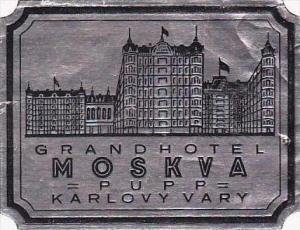 RUSSIA MOSCOW GRAND HOTEL KARLOVY VARY VINTAGE LUGGAGE LABEL