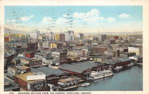 Portland Oregon~Business Section From The Harbor~1930 Postcard