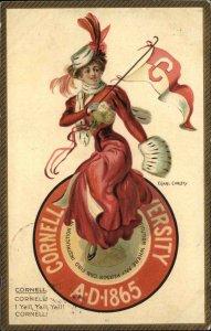 F. Earl Christy College Girl Series CORNELL UNIVERSITY TUCK #2625 Postcard