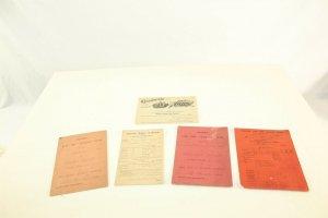 Lot of 5 Vintage 1893 - 1909 Various School Report Cards Merits