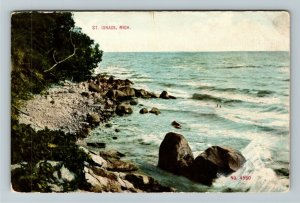 St Ignace MI-Michigan, Scenic View, Vintage Postcard
