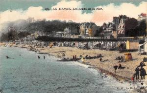 Le Havre France~Beach Scene~Cabanas~Bath Houses~Waterfront Buildings~c1910 PC