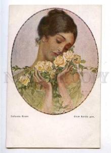 182523 BELLE Lady w/ Roses by SCHUTZ Vintage Color PC
