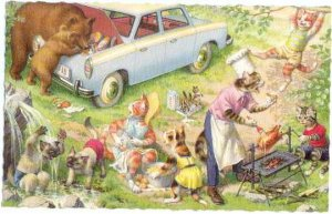 Dressed Cats More Camping by Mainzer #4981 printed in Belgium