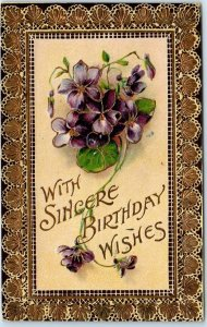 1910s Embossed Greetings Postcard With Sincere Birthday Wishes Purple Flowers
